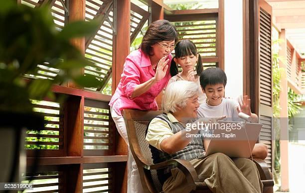 Grandparents and Grandchildren Using Web Cam
