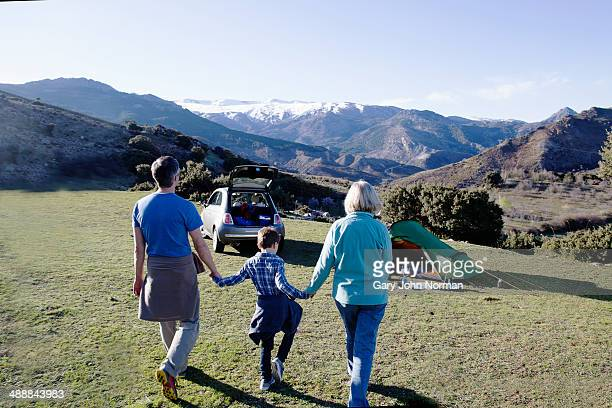 Grandparents camping with grandson