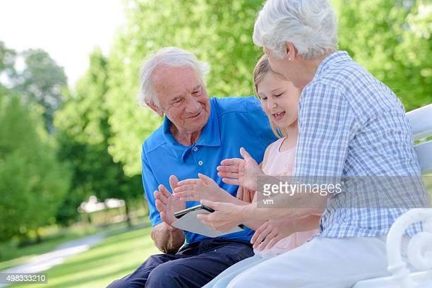Grandparents in park