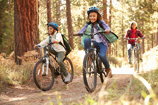 Grandparents With Children Cycling Through Fall Woodland 514312120