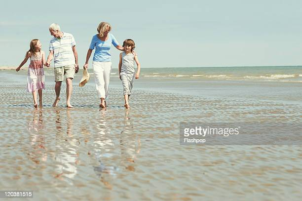 grandparents with grandchildren at the beach - four people stock pictures, royalty-free photos & images