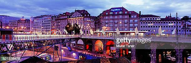 grand-pont and lausanne skyline - lausanne stock pictures, royalty-free photos & images