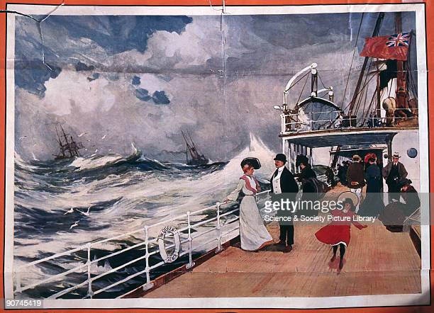 Grands Bateaux a Turbines� - large turbine ships. Passengers on the deck of a cross-Channel ferry in rough seas. Detail of a poster produced for the...