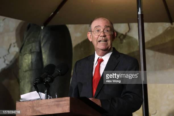 Grandson David Eisenhower speaks during a dedication ceremony for The Dwight D. Eisenhower Memorial September 17, 2020 in Washington, DC. The...