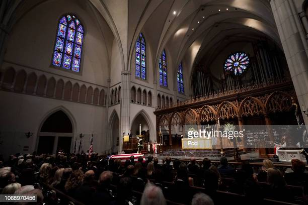 Grandson George P Bush gives a eulogy during the funeral service for former President George HW Bush at St Martins Episcopal Church on December 6...