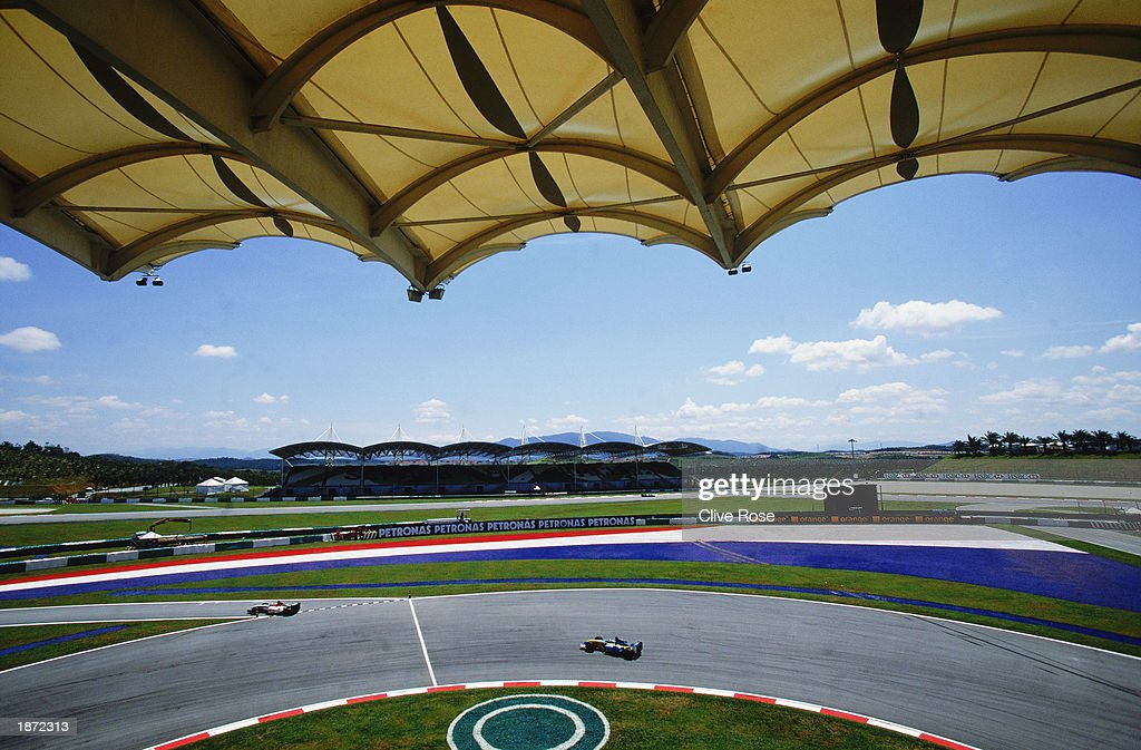 A grandstand general view of the Sepang Circuit during the Formula One Malaysian Grand Prix held on March 23, 2003 at the Sepang International Circuit in Kuala Lumpur, Malaysia.