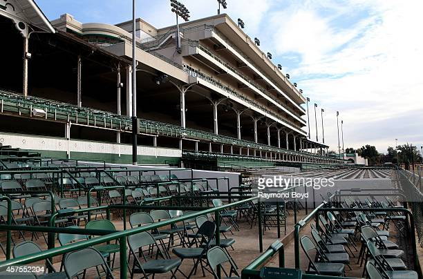 Grandstands and seating areas at Churchill Downs home of the Kentucky Derby on October 05 2014 in Louisville Kentucky
