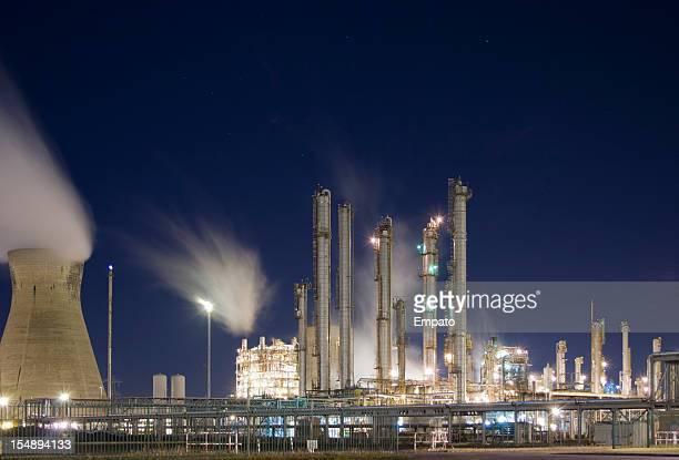Grangemouth Oil Refinery at night.