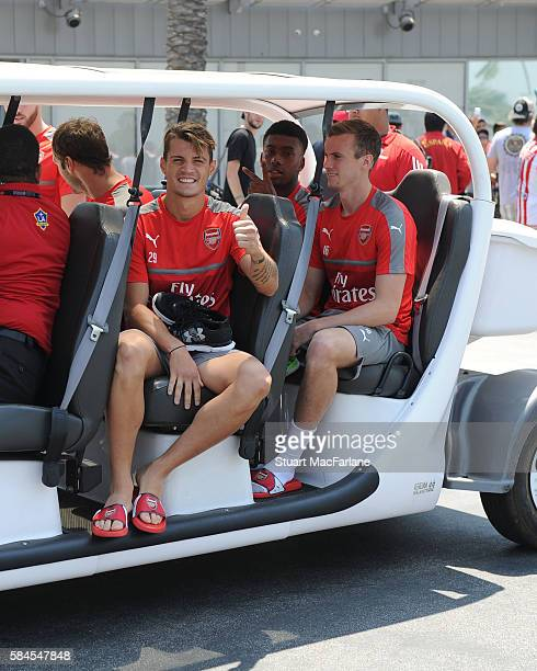 Granit Xhaka Alex Iwobi and Rob Holding of Arsenal after a training session at the Stubhub Centre on July 29 2016 in Los Angeles California