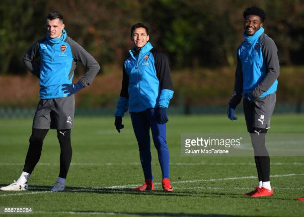Granit Xhaka Alexis Sanchez and Ainsley MaitlandNiles of Arsenal during a training session at London Colney on December 9 2017 in St Albans England
