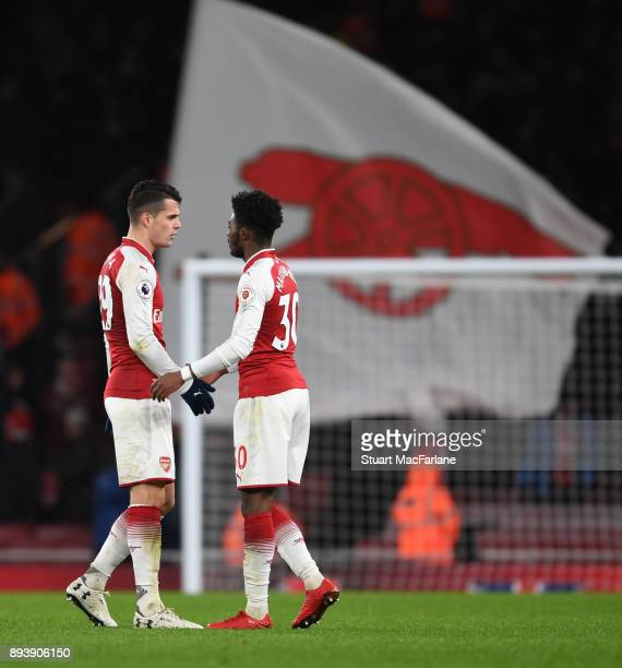 Granit Xhaka and Ainsley MaitlandNiles of Arsenal after the Premier League match between Arsenal and Newcastle United at Emirates Stadium on December...