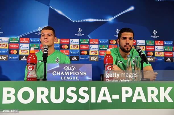 Granit Xhaka and Alvaro Dominguez of Borussia Moenchengladbach during the press conference of Borussia Moenchengladbach at BorussiaPark on September...