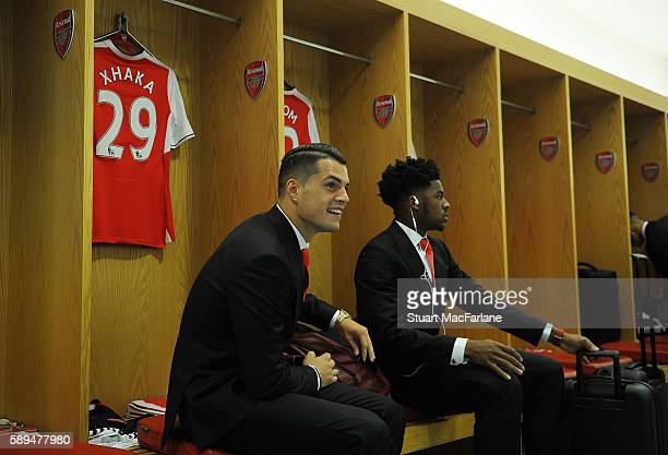 Granit Xhaka and Chuba Akpom in the Arsenal changing room before the Premier League match between Arsenal and Liverpool at Emirates Stadium on August...