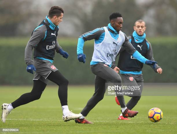 Granit Xhaka and Danny Welbeck of Arsenal during a training session at London Colney on December 21 2017 in St Albans England
