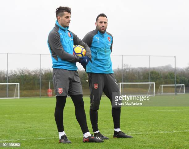 Granit Xhaka and David Ospina of Arsenal during a training session at London Colney on January 13 2018 in St Albans England