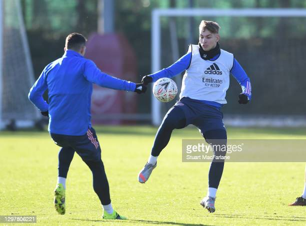 Granit Xhaka and Emile Smith Rowe of Arsenal during a training session at London Colney on January 22, 2021 in St Albans, England.
