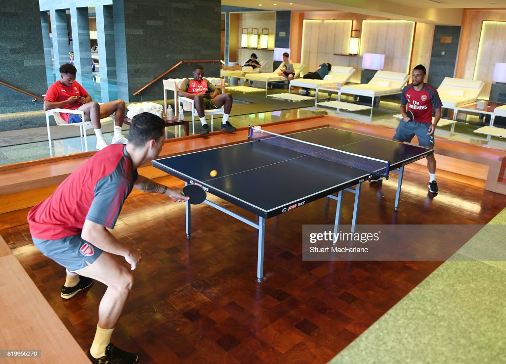 Granit Xhaka and Francis Coquelin of Arsenal play table tennis in the team hotel on July 21, 2017 in Beijing, China.