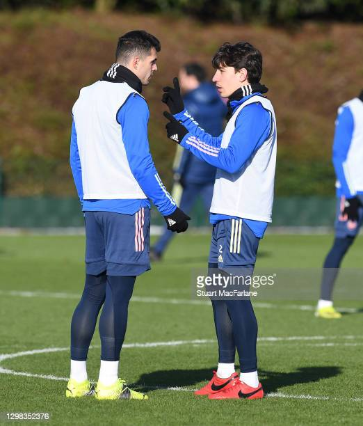 Granit Xhaka and Hector Bellerin of Arsenal during a training session at London Colney on January 25, 2021 in St Albans, England.