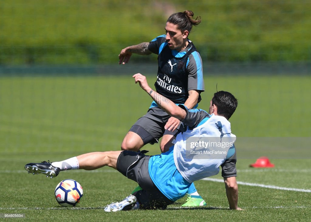 Granit Xhaka and Hector Bellerin of Arsenal during a training session at London Colney on May 5, 2018 in St Albans, England.