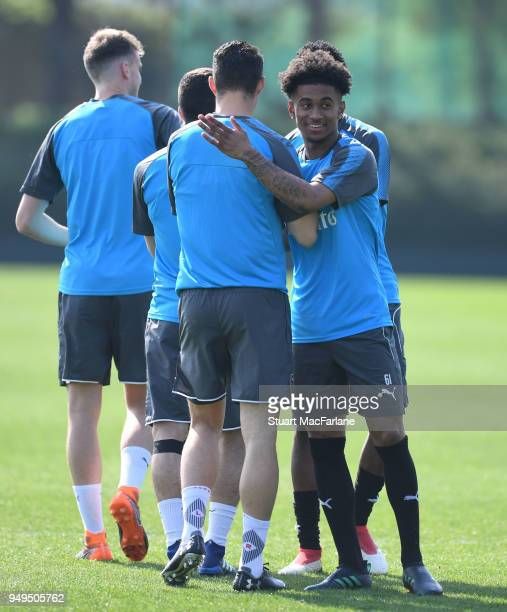 Granit Xhaka and Reiss Nelson of Arsenal during a training session at London Colney on April 21 2018 in St Albans England