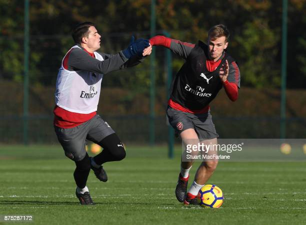 Granit Xhaka and Rob Holding of Arsenal during a training session at London Colney on November 17 2017 in St Albans England