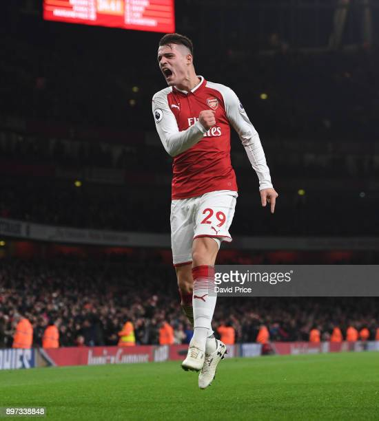 Granit Xhaka celebrates scoring Arsenal's 2nd goal during the Premier League match between Arsenal and Liverpool at Emirates Stadium on December 22...