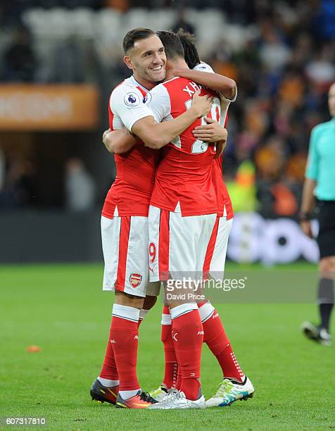 Granit Xhaka celebrates scoring Arsenal's 4th goal with his Lucas Perez during the Premier League match between Hull City and Arsenal at KCOM Stadium...