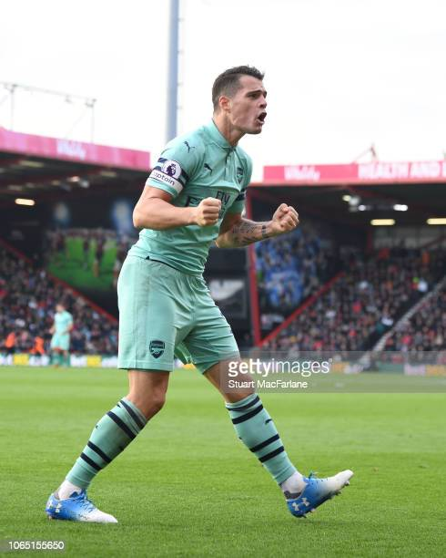 Granit Xhaka celebrates the 2nd Arsenal goal during the Premier League match between AFC Bournemouth and Arsenal FC at Vitality Stadium on November...