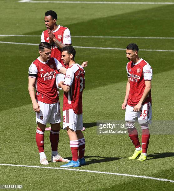 Granit Xhaka, Gabriel, Dani Ceballos and Gabriel Martinelli of Arsenal before the Premier League match between Arsenal and Fulham at Emirates Stadium...