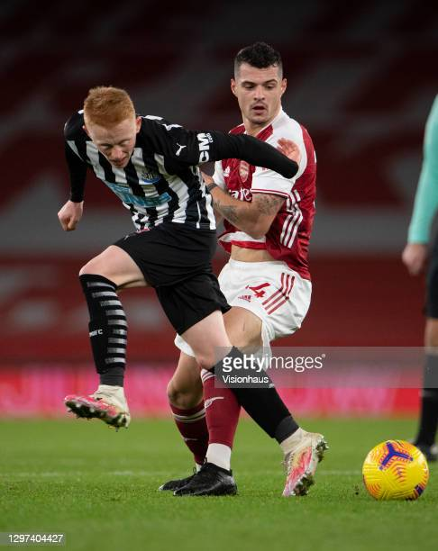 Granit Xhaka of Arsenal and Matty Longstaff of Newcastle United during the Premier League match between Arsenal and Newcastle United at Emirates...
