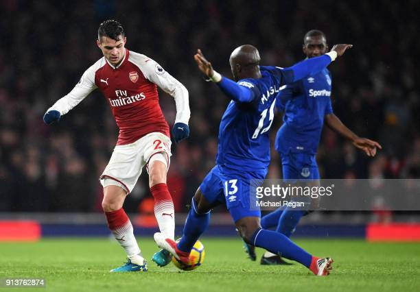 Granit Xhaka of Arsenal battles for possesion with Eliaquim Mangala of Everton during the Premier League match between Arsenal and Everton at...