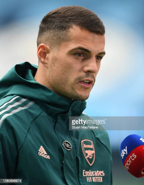 Granit Xhaka of Arsenal before the Premier League match between Manchester City and Arsenal at Etihad Stadium on October 17 2020 in Manchester...