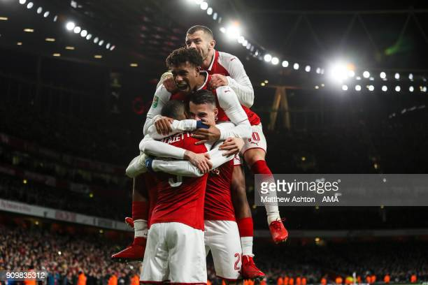 Granit Xhaka of Arsenal celebrates after scoring a goal to make it 21 during the Carabao Cup SemiFinal Second Leg match between Arsenal and Chelsea...