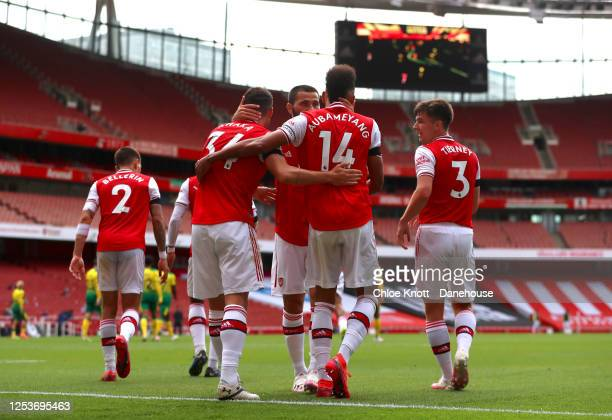 Granit Xhaka of Arsenal celebrates scoring his teams second goal during the Premier League match between Arsenal FC and Norwich City at Emirates...