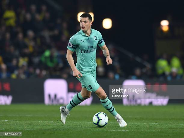 Granit Xhaka of Arsenal controls the ball during the Premier League match between Watford FC and Arsenal FC at Vicarage Road on April 15 2019 in...