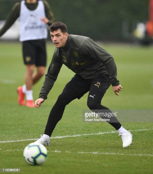 Granit Xhaka of Arsenal during a training session at London Colney on March 01 2019 in St Albans England