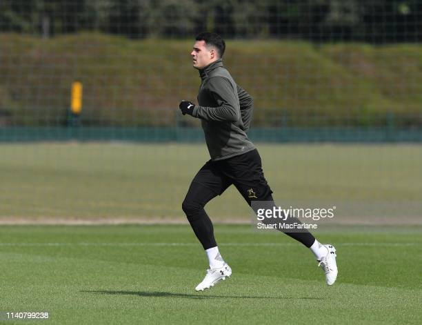Granit Xhaka of Arsenal during a training session at London Colney on April 06 2019 in St Albans England