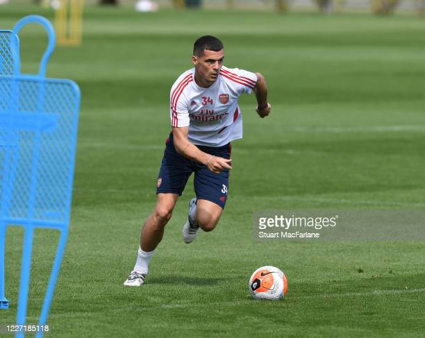 Granit Xhaka of Arsenal during a training session at London Colney on May 26 2020 in St Albans England