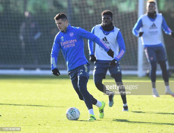 Granit Xhaka of Arsenal during a training session at London Colney on January 22, 2021 in St Albans, England.