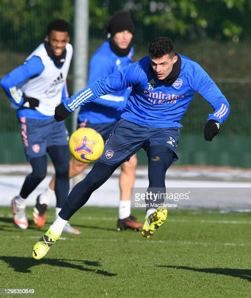 Granit Xhaka of Arsenal during a training session at London Colney on January 25, 2021 in St Albans, England.
