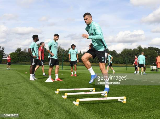 Granit Xhaka of Arsenal during a training session at London Colney on September 17, 2021 in St Albans, England.