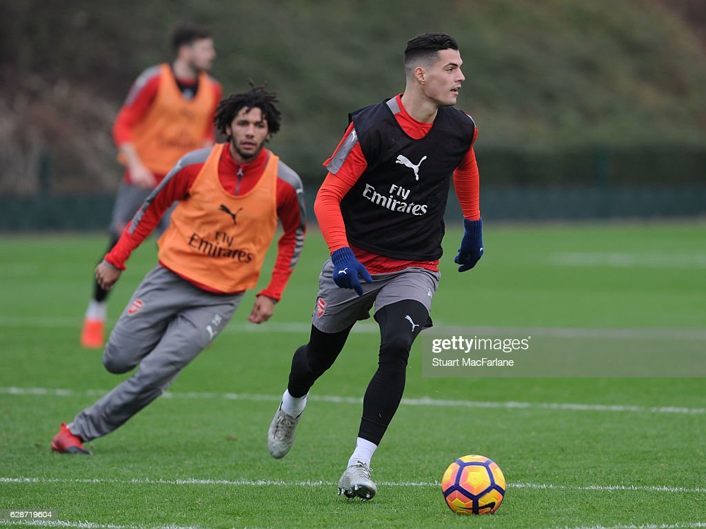 Granit Xhaka of Arsenal during a training session at London Colney on December 9, 2016 in St Albans, England.