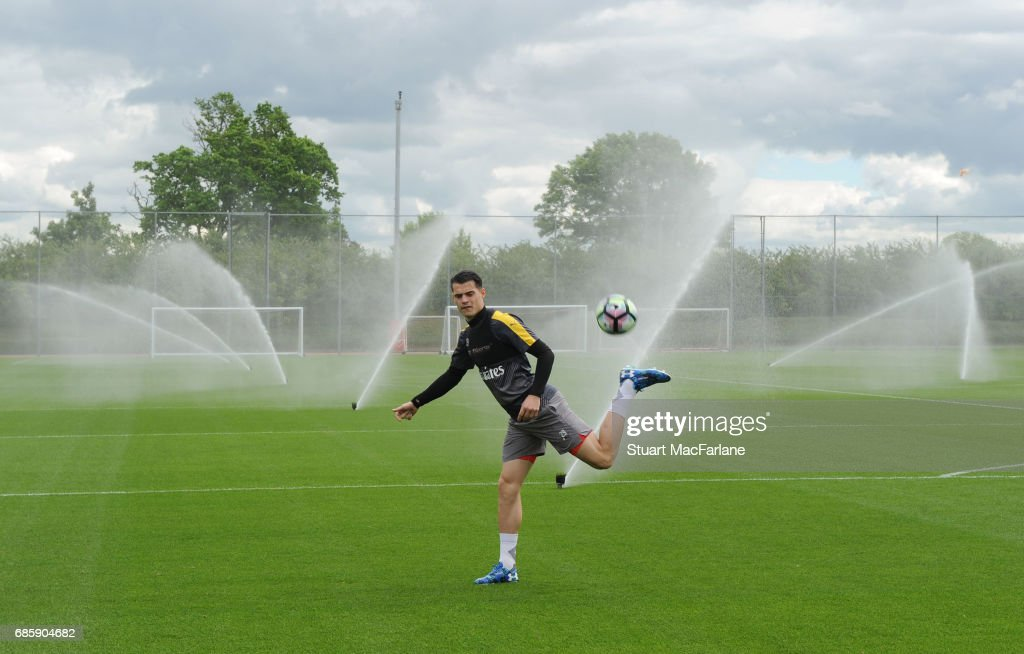 Granit Xhaka of Arsenal during a training session at London Colney on May 20, 2017 in St Albans, England.