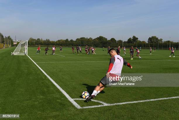 Granit Xhaka of Arsenal during a training session at London Colney on September 24 2017 in St Albans England