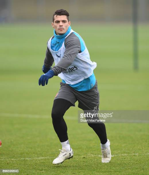 Granit Xhaka of Arsenal during a training session at London Colney on December 21 2017 in St Albans England