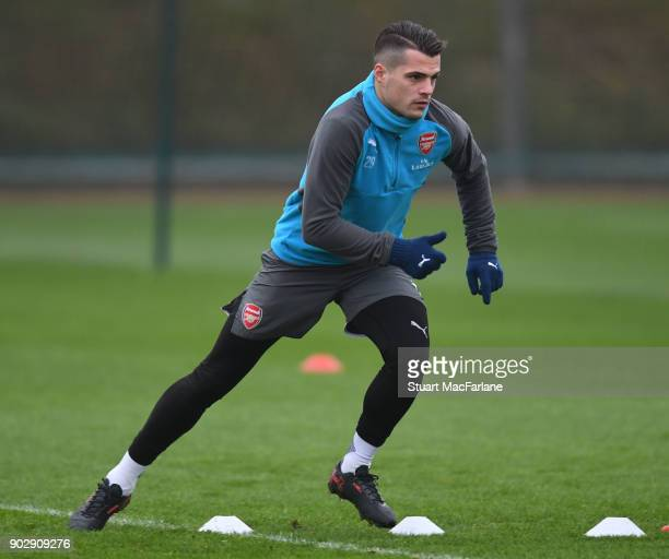 Granit Xhaka of Arsenal during a training session at London Colney on January 9 2018 in St Albans England