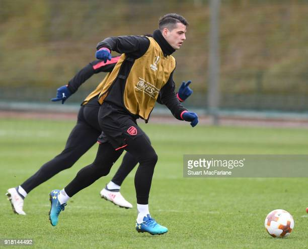 Granit Xhaka of Arsenal during a training session at London Colney on February 14 2018 in St Albans United Kingdom