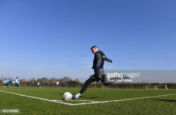 Granit Xhaka of Arsenal during a training session at London Colney on February 24, 2018 in St Albans, England.