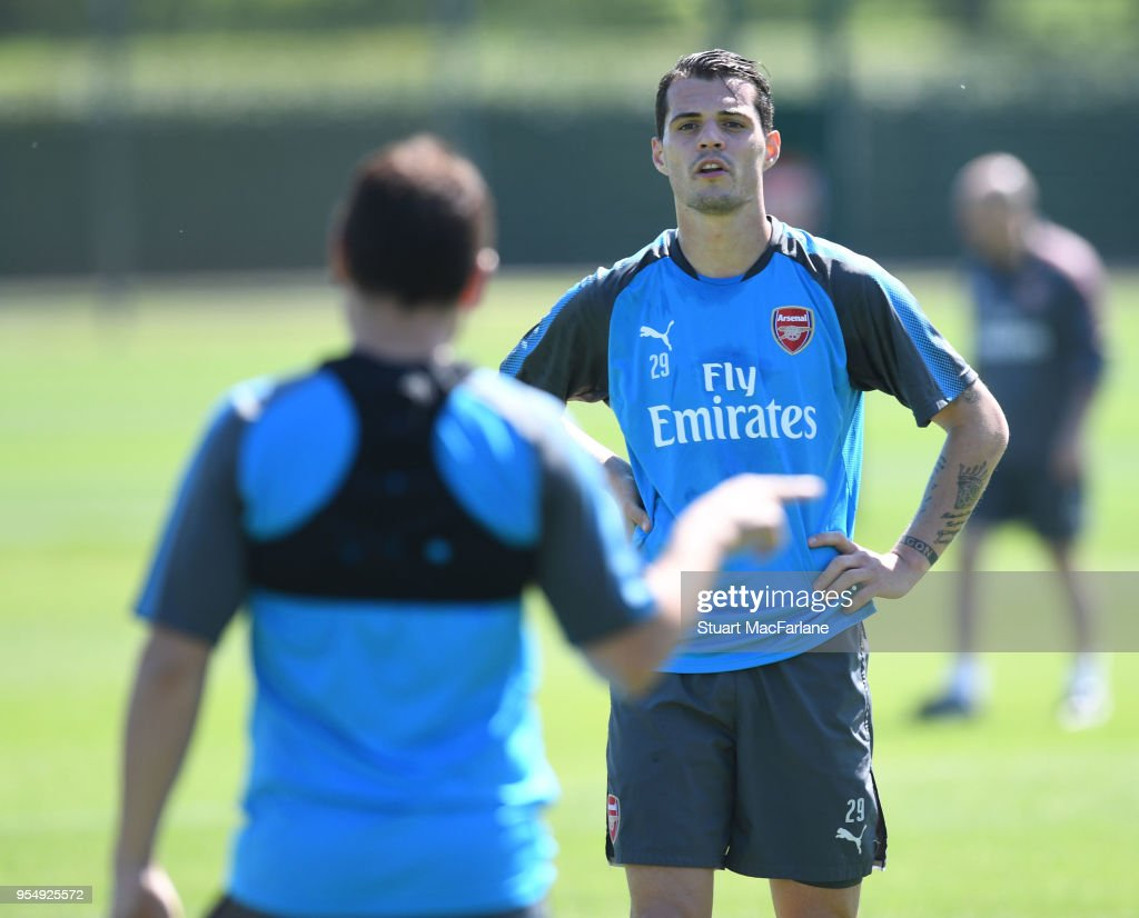 Granit Xhaka of Arsenal during a training session at London Colney on May 5, 2018 in St Albans, England.