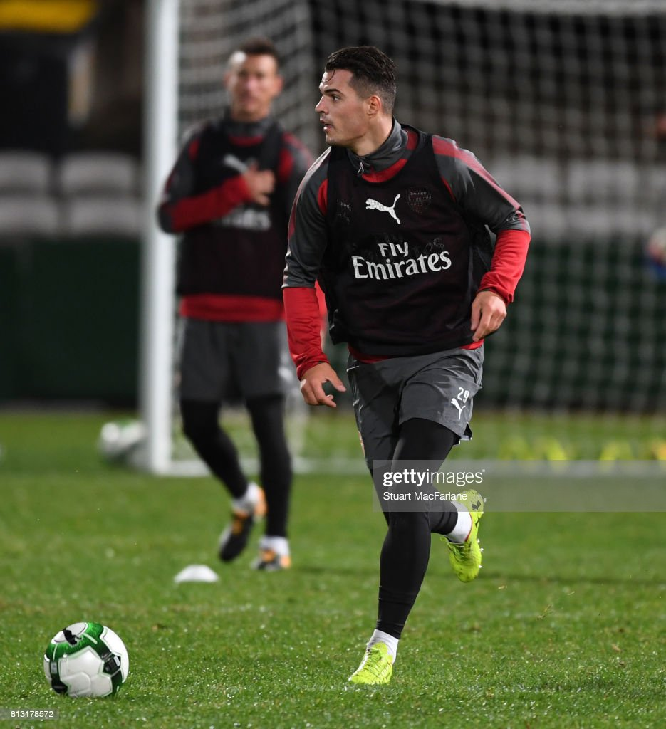 Granit Xhaka of Arsenal during a training session at the Koraragh Oval on July 12, 2017 in Sydney, New South Wales.